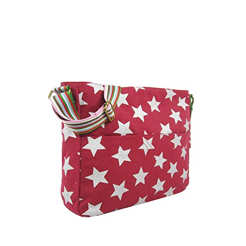 PRINT LADIES BAG MULTICOLOUR FESTIVAL STRAP Dark CANVAS Red NEW CROSSBODY HANDBAG STAR twp1qOOaT