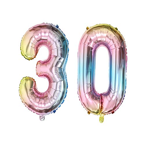 40inch Number 30 Balloons 30th Birthday Decoration Rainbow Color Jumbo Foil Mylar Balloon for 30 Birthday Party Decoration Supplies (40inch Number -