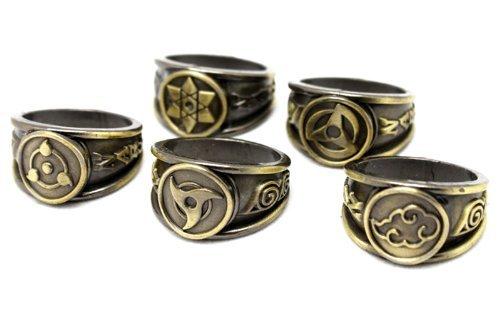 NuoYa001 NEW 10xPCS Naruto Black Akatsuki Ring Set Sasori Itachi Hidan Deidara