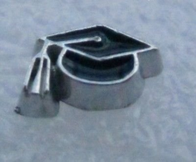 Black Graduation Cap Enamel Silver 9mm Floating Charm for Memory Lockets ()
