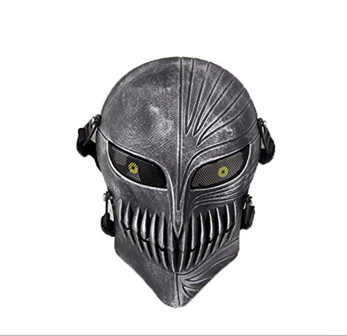 Silver Tactical Airsoft Paintball CS War Game Fyll Face Protective Skull Mask