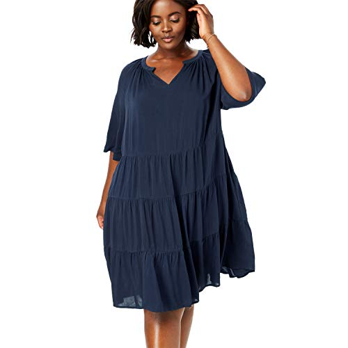 Woman Within Women's Plus Size Tiered Trapeze Dress - Navy, 14 W