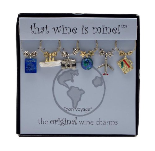 Wine Things WT-1404P Bon Voyage, Painted Wine Charms, Fits neatly around stem, Multi-Color