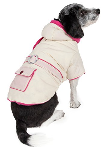 PET LIFE Two-Tone Jewel Accented Fasion Designer 3M Insulated Pet Dog Coat Jacket w/ Removable Hood, Medium, Beige And Pink