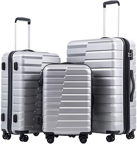 COOLIFE Luggage Expandable Suitcase PC ABS TSA Lock Spinner Carry on new type design(sliver, 3 piece set)