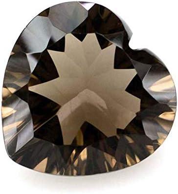 Ratnagarbha Smoky Quartz Cut Heart Shape Faceted Loose gem Stone, Smoky Grey Color, Jewelry Making, Wholesale Price.