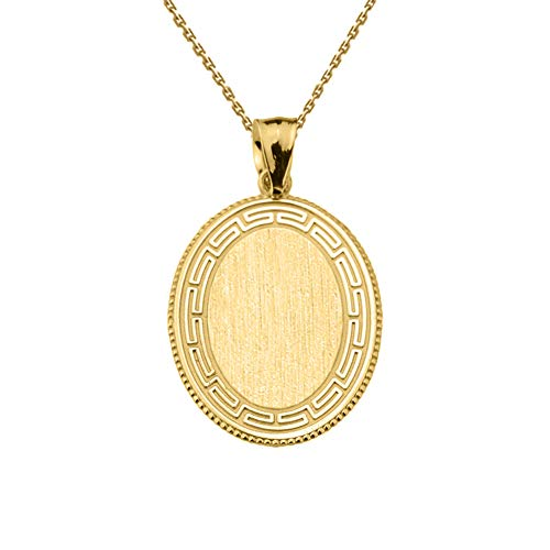 Fine 14k Yellow Gold Engravable Greek Key Oval-Shaped Charm Pendant Necklace, 20""