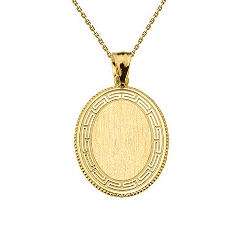 (Fine 14k Yellow Gold Engravable Greek Key Oval-Shaped Charm Pendant Necklace, 20