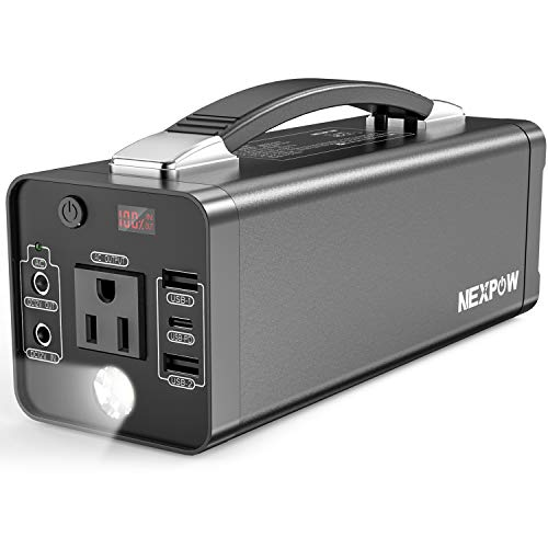 NEXPOW Portable Power Station, 178Wh Solar Generator Lithium Polymer Battery Emergency Backup Power Supply with 110V 120W Peak 150W PD 3.0 and AC Inverter Outlet for Home Small CPAP Outdoors Fishing
