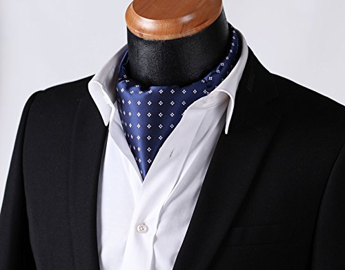 Hisdern Hombres Comprobar Polka Dot Jacquard floral Ascot tejido /& Plaza de bolsillo Conjunto