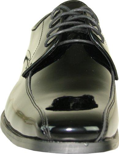 Vangelo Heren Smoking Schoen Tux-5 Mode Vierkante Neus Voor Formele Bruiloft Evenement Zwarte Octrooi 9.5w