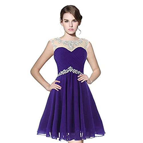 Belle House Purple Homcoming Dresses 2018 Short for Juniors Chiffon Prom Gown