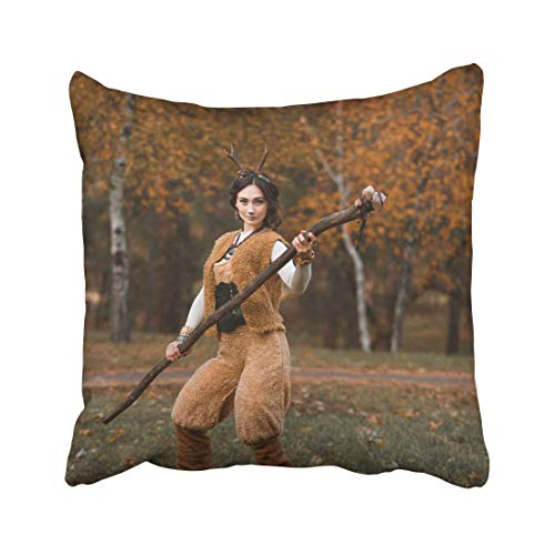 Emvency Amazing Girl in Costume with Horns Faun and His Staff The Autumn Park Halloween Samhain America Atmosphere Throw Pillow Covers 20x20 Inch Decorative Cover Pillowcase Cases Case Two Side -