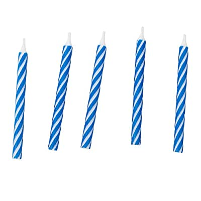 Jacent Classic Striped Spiral Birthday Candles Party Supplies, 24 Count Per Pack, 1-Pack Blue: Home & Kitchen