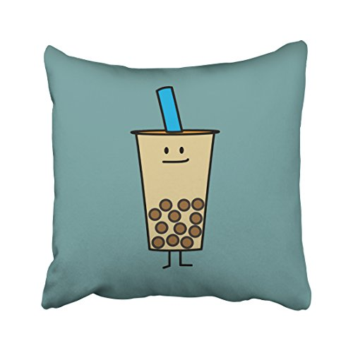 Decorativepillows 18 x 18 inch Throw Pillow Covers,Bubble Boba Pearl Milk Tea Tapioca Balls Pattern Double-Sided Decorative Home Decor Indoor/Outdoor Garden Sofa Bedroom Car Kitchen Nice Gift from Kutita