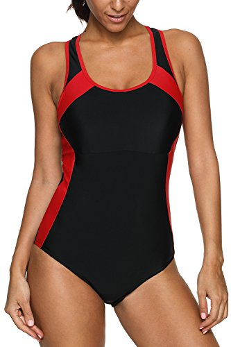 CharmLeaks Women's Racing Bathing Suits one Piece Sports Swimming Suit Athletic Swimsuits,Black/Red,Medium ()