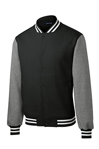 Twill Letterman Jacket - Men's Classic Fleece Letterman Varsity Jacket - BLACK - 4XL