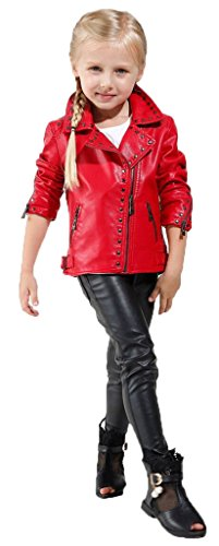 Girl's Biker Jacket faux leather Rivets Leather Motor Jacket, Red, 7-8T