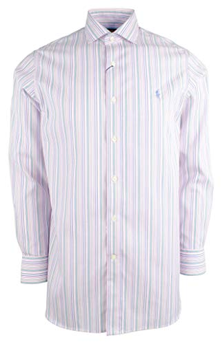 Polo Ralph Lauren Mens Classic Fit Easy Care Striped Dress Shirt,Pink Fern,17 (32/33)