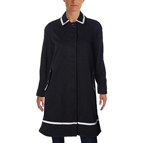 Marc by Marc Jacobs Womens Zeta Contrast Trim Twill Maxi Coat Black XS