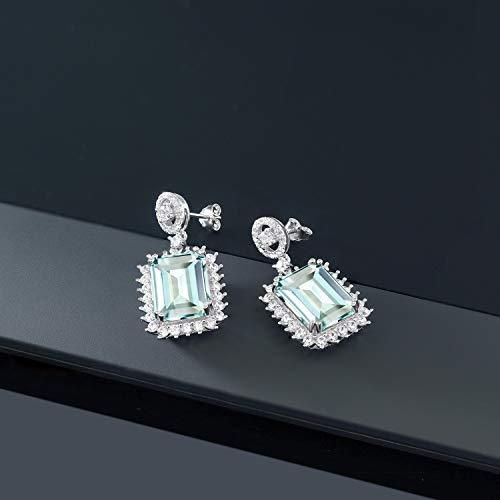 Gem Stone King 925 Sterling Silver Sky Blue Simulated Aquamarine Women's Dangle Earrings 13.88 Ctw