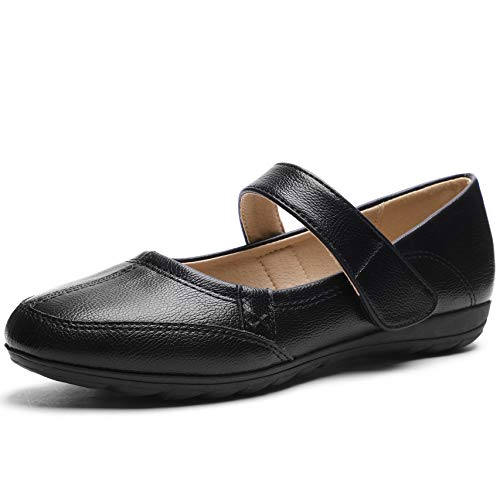 CINAK Comfort Mary Jane Flats for Women- Walking Casual Slip-on Loafers Shoes (8-8.5 B(M) US/ CN40 / 9.84'', Black)