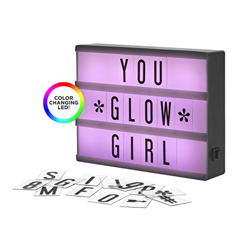 (My Cinema Lightbox - The Mini Color-Changing LED Marquee with 100 Letters & Numbers to Create Your Own Sign with Classic White, RGB Color Change, and Freeze Mode, with Letter Storage and USB)