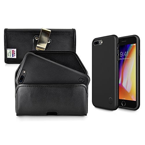 Turtleback Holster and Slim FIT ITG Level Case Combo Made for iPhone 8 Plus & 7 Plus + Black Leather Belt Case Pouch (Horizontal) with Metal Clip and Mil Spec Certified Drop Tested Air Cushion Case