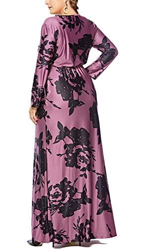 bca248f1cd9 Eternatastic Womens Floral Maxi Dress V-Neck Wrap Plus Size Long Dress 3XL  Purple