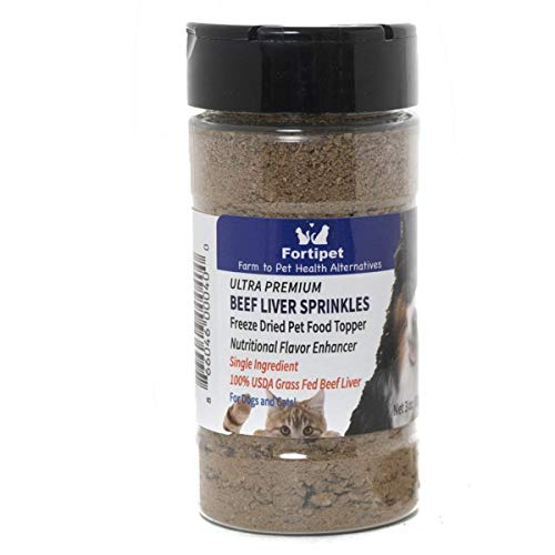Fortipet Freeze Dried Raw Beef Liver Sprinkles 30 Day Supply Healthy Dog and Cat Food Topper and Treat, Best Grass Fed Beef, 3 Ounces