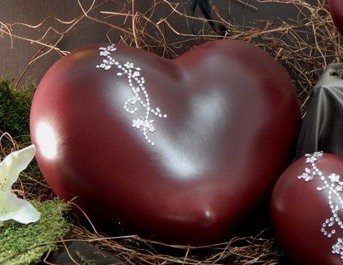 Tierurne - Herz aus Keramik, Rot schattiert, mit Strass-Applikation, Vol. ca. 2,50 Ltr.