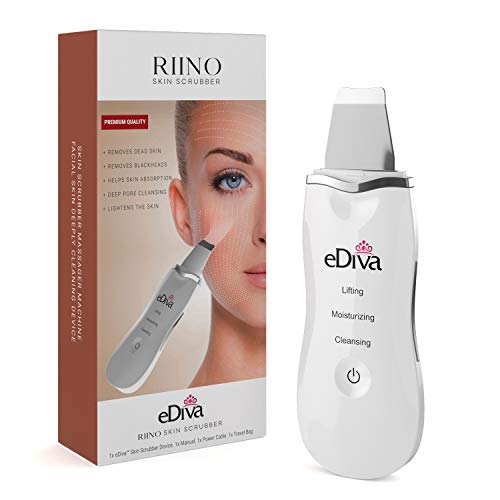 Advanced #1 Skin Scrubber, Scraper and Gentle Peel Device by eDiva - Cordless Pore Cleanser & Exfoliator, Comedone Extractor, Facial Lift Treatment, Dermabrasion, Face Beauty Spatula