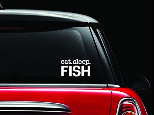 Eat Sleep Fish Decal Vinyl Sticker|Cars Trucks Vans Walls Laptop| White |5.5 x 3 - London Shops Swimming
