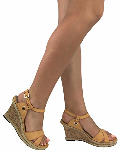 Runs 1/2 Size Small on Wide Feet - Wedge Espradrille Sandal Cork Jute Mid Heel Platform, Camel, 8