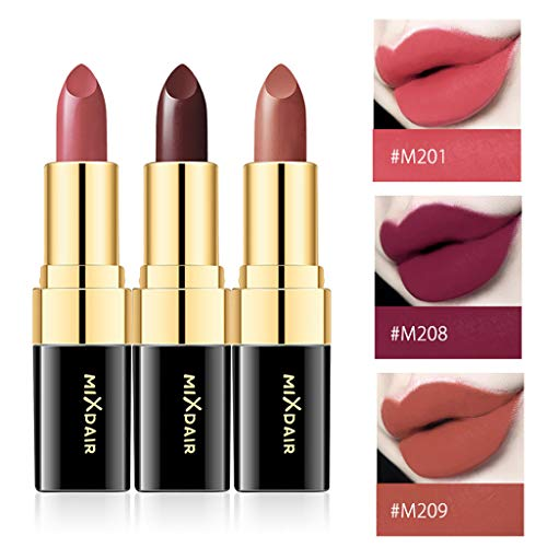 - WONdere 3 colors Cosmetics Makeup Lipstick Long Lasting Waterproof Easy to Wear Matte lip gloss