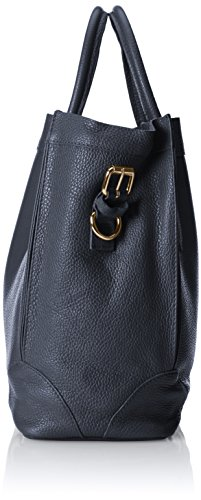 CTM Bolso elegante de la mujer, bolso de mano en cuero genuino italiano suave fabricado en Italia 37x30x15 Cm Azul (Blu)