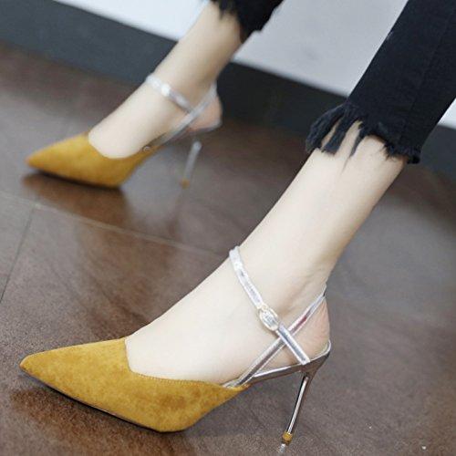 satén alto Y Heel color Shoes Zapatos el de sugerencia Sandalias Corte con zapatos mujer ranurados Qiqi simple de Xue ate Color bien la está de y RZnapqv