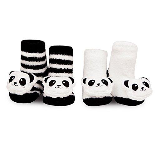 [Waddle and Friends Newborn Baby Panda Bear Animal Rattle Socks Black White 0-12M] (Panda Outfits For Babies)