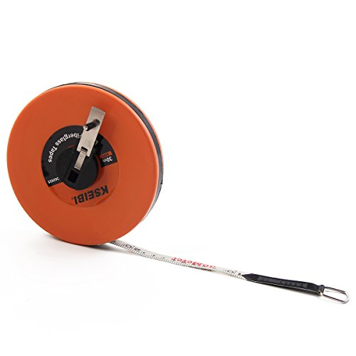 KSEIBI 302940 Long Fiberglass Tape Measure Double Face Printing Inch/Metric for Construction Work (150ft / 50m)