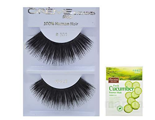 12 Pairs Creme 100% Human Hair Black Natural False Eyelashes Dozen Pack #101 (Creme Eyelashes 101)