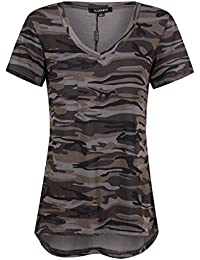 Womens Camo Camouflage Jersey Longer V Neck Top Tee T Shirt