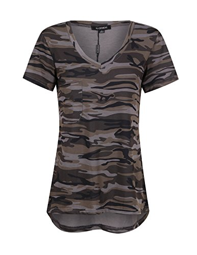 ASMAX HaoDuoYi Womens Camo Camouflage Jersey Longer V Neck Top Tee T Shirt(X-Large, Forest Camo) ()