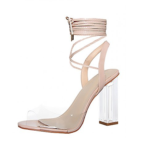 Kick Footwear Ladies Womens Girls Perspex High Heels Clear Strap Long Lace up Party Shoe Size Nude zviVaCTTFR