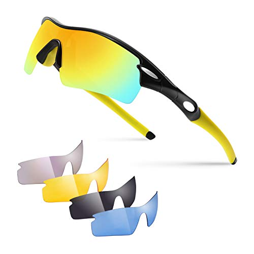 Targer Polarized Sports Sunglasses with 5 Interchangeable Lenses for Men Women Cycling Running Baseball Driving Fishing Glasses