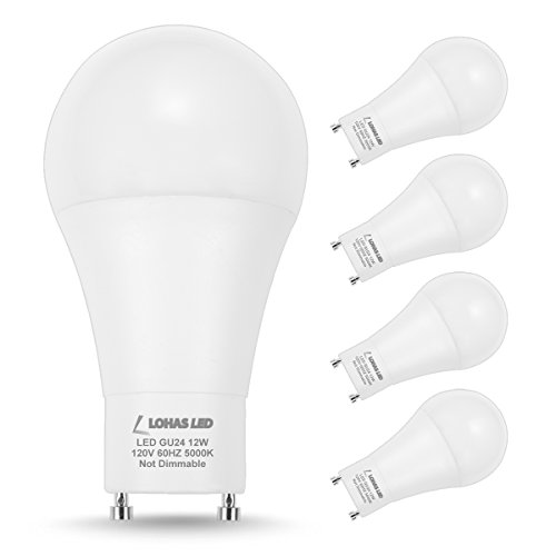 LOHAS GU24 LED Bulb Daylight 5000K, 75W-100W Equivalent(12W Halogen Bulb Replacement), A19 Shape LED Light Bulbs GU24 Base, 1200 Lumens, Non-Dimmable, 240 Degree Beam Angle(4 Pack)