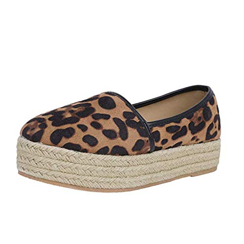 (TnaIolral Ladies Shoes Fashion Snake Print Platform Slip On Round Toe Casual Flats Boat Sneaker (US:8.5, Yellow 1))