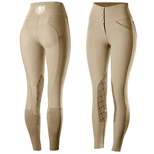 - Horze Desiree Women's Knee Patch Breeches, Light Brown,