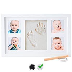 Baby Handprint Kit by Little Hippo – DELUXE SIZE + NO MOLD! Baby Picture Frame (WHITE) & Non Toxic CLAY! Baby Footprint kit, best baby shower gifts! Perfect for Baby Boy gifts, and Baby Girls Gifts!