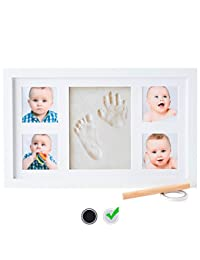 Baby Handprint Kit by Little Hippo – DELUXE SIZE + NO MOLD! Baby Picture Frame (WHITE) & Non Toxic CLAY! Baby Footprint kit, best baby shower gifts! Perfect for Baby Boy gifts, and Baby Girls Gifts! BOBEBE Online Baby Store From New York to Miami and Los Angeles