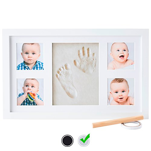 Baby Handprint Kit by Little Hippo – DELUXE SIZE + NO MOLD! Baby Picture Frame (WHITE) & Non Toxic CLAY! Baby Footprint kit, best baby shower gifts! Perfect for Baby (Baby Shower Decor Kits)